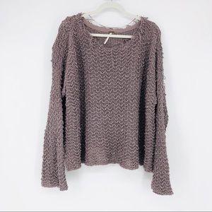 Free People Grunge Chunky Knit Sweater Gray
